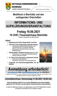 Infoveranstaltung zum Mobilfunkausbau im Bereich Bierhütte findet in Präsenz statt