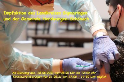 Impfaktion des Landkreises Sigmaringen und der Gemeinde Herdwangen-Schönach - Gemeinde bietet für Bürgerinnen und Bürgern aus Herdwangen-Schönach Impftermine in Hohentengen an