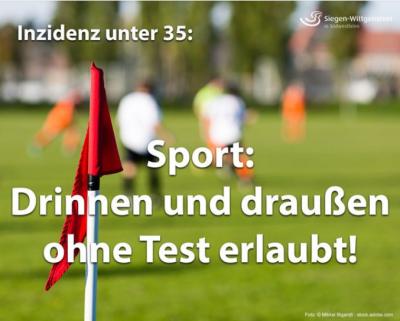 Sport drinnen  und draußen ohne Test!