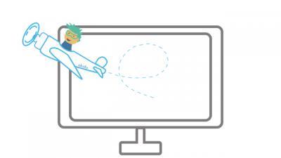 Grafik, Okidu Pilot fliegt im Flugzeug aus dem Bildschirm