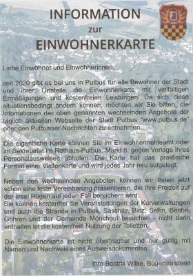 Information zur Einwohnerkarte