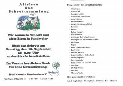 Alteisen und Schrottsammlung am 18.09.2021