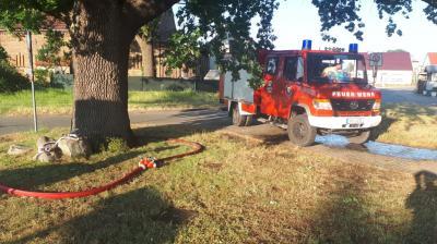 Foto zur Meldung: Grebser Feuerwehr hilft beim Wässern