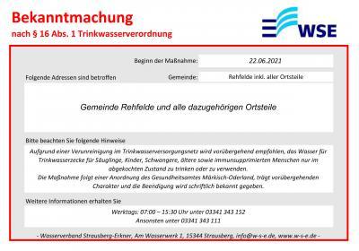 Foto zur Meldung: Abkochempfehlung nach § 16 Trinkwasserverordnung für die Gemeinden Rüdersdorf und Rehfelde