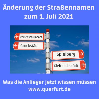 Foto zu Meldung: Straßenumbenennung in den Ortschaften Weißenschirmbach und Grockstädt zum 1. Juli 2021