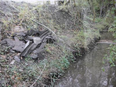 Verunreinigung des Sandbachs: Von Rasenschnitt über Hundekotbeutel bis hin zu Sitzbänken ist alles dabei!