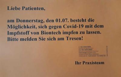 Zusätzliche Impfungen am 01.07.21 möglich!