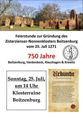 Feierstunde Gründung Kloster Boitzenburg, 25. Juli