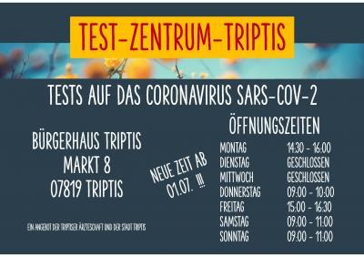 Öffnungszeiten Test-Zentrum-Triptis