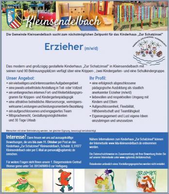 Stellenausschreibung Erzieher (w/m/d) für das Kinderhaus in Kleinsendelbach