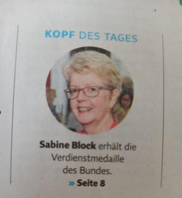Bundesverdienstkreuz für Sabine Block