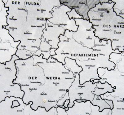 """Die Karte zeigt, dass der heutige Werra-Meißner-Kreis zum """"Departement der Werra"""" gehörte."""