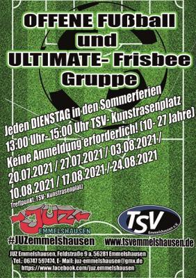 Sonderaktion des Jugendzentrums: Offene Fußball und Ultimate-Frisbee-Gruppe
