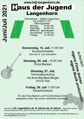 """Foto zur Meldung: Plakat vom Ferienprogramm """"Haus der Jugend"""""""
