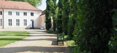 Pappelrondel vor Schloss Paretz im Juli 2021