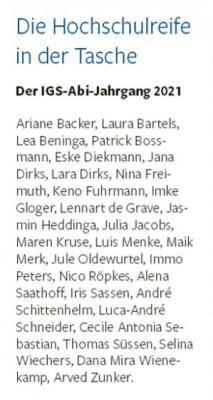 Die Namen der diesjährigen Abiturientinnen und Abiturienten