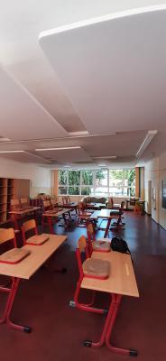 neue Akustik-Deckenplatten für 4 Klassenräume in der Grundschule Nennhausen
