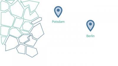 Zwei Markierungen/Ortsangaben mit dem Standort Berlin und Potsdam