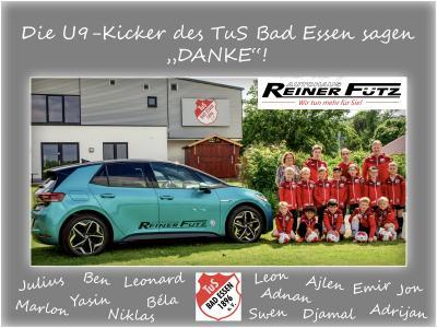 """Die U9-Kicker des TuS Bad Essen sagen """"DANKE"""" für die neuen Trainingsjacken von Autohaus Reiner Fütz GmbH & Co. KG !"""