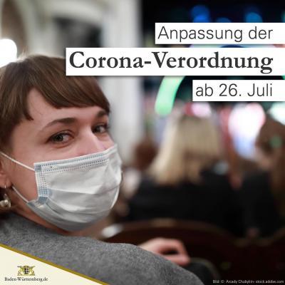 Vorschaubild der Meldung: Verlängerung und Anpassung der Corona-Verordnung zum 26. Juli 2021