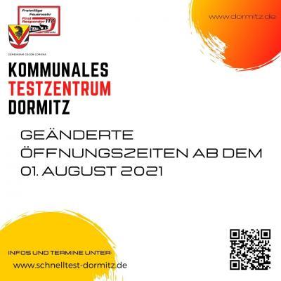 Schnelltestzentrum: Geänderte Öffnungszeiten ab 1. August