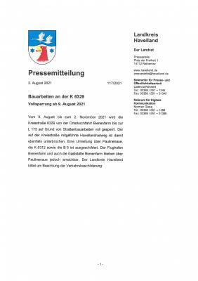 Vorschaubild der Meldung: Bauarbeiten an der K 6329 - Vollsperrung ab 09. August 2021