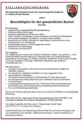 Bauhofmitarbeiter (m/w/d) zum nächstmöglichen Zeitpunkt in Vollzeit gesucht