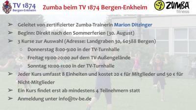 Zumba-Kurse ab 30. August