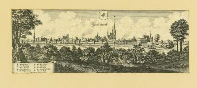 Stadt Perleberg   Ansicht der Stadt Perleberg nach einem Kupferstich von Caspar Merian, 1650