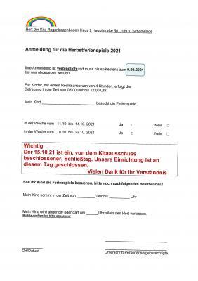 Informationen zur Kitaausschusswahl 2021 / Ferienanmeldung Herbstferien