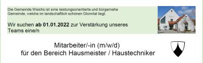 Stellenausschreibung Mitarbeiter/-in für den Bereich Hausmeister/Haustechniker