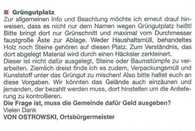 Allgemeine Infos zum Grüngutplatz