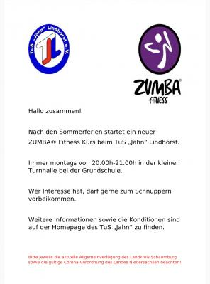 Neuer ZUMBA® Fitness Kurs nach den Sommerferien