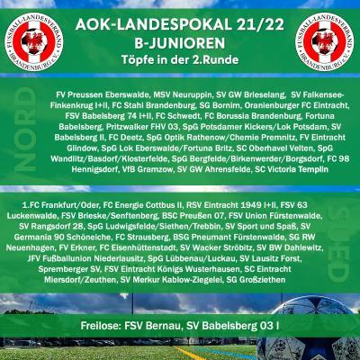 B-Junioren-Landespokal-Auslosung der 2.Runde