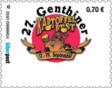 """Foto zur Meldung: Vorstellung der Sonderbriefmarke """"27. Genthiner Kartoffelfest 2021"""""""
