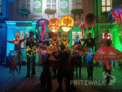 Vor dem Rathaus stellten sich die sehr unterschiedlich kostümierten Stelzenläufer zum Fotomotiv auf. Foto: Heike Fuchs
