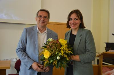 Bürgermeister Dr. Oliver Hermann und Karolin Theiß, neue Pastorin der Evangelisch-Freikirchlichen Gemeinde in Wittenberge I Foto: Martin Ferch
