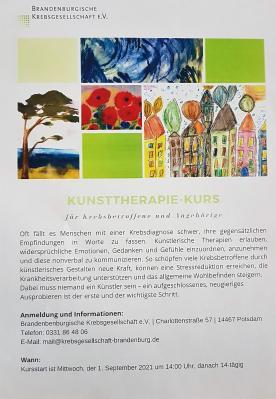Einladung zum Kunsttherapiekurs der Brandenburgischen Krebsgesellschaft