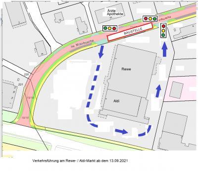 """Verkehrsführung am Rewe-/Aldi-Markt ab dem 13.09.2021"""