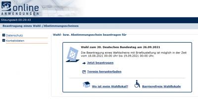 Bundestagswahl: Papierlose Beantragung des Wahlscheins im Internet!