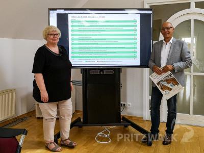 Kämmerin Kornelia Wienke und Dr. Ronald Thiel präsentieren die Liste der eingereichten und zugelassenen Vorschläge für den Bürgerhaushalt 2022. Foto: Beate Vogel