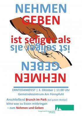 ERNTEDANKFEST Am 3. Oktober, 11:00 Uhr