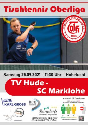 TT-Oberliga: Sa. 25.09. 11.30 Uhr TV Hude - SC Marklohe (Sporthalle Hohelucht)