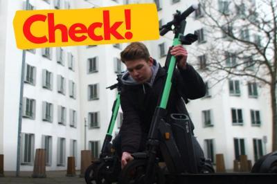 Vor jeder Nutzung sollte der E-Scooter gecheckt werden. Diese und weitere Tipps werden anlässlich der bundesweiten Aktionstage zu Elektrotretrollern vermittelt. Foto: Deutsche Verkehrswacht.
