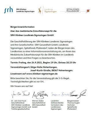 Vorschaubild der Meldung: Informationsveranstaltung zum Medizinischen Zukunftskonzept für die SRH Kliniken im Landkreis
