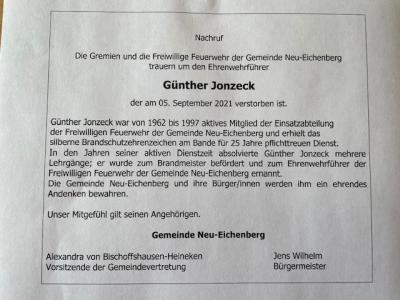 Nachruf der Gremien der Freiwilligen Feuerwehr Neu-Eichenberg um den Ehrenwehrführer Günther Jonzeck