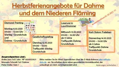 Herbstferienplan für Dahme und den Niederen Fläming