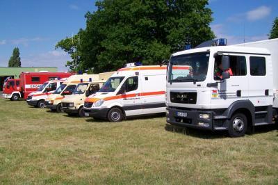 Fahrzeugstaffel des Katastrophenschutzes des DRK Calau. Foto: DRK