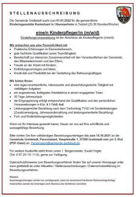 Kinderpfleger/in (m/w/d) zum 01.01.2022 in Obereuerheim gesucht