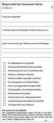 Bürgerzettel der Gemeinde Ostrau